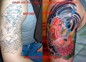 koy fish cover up acoperire tatuaje Roxy