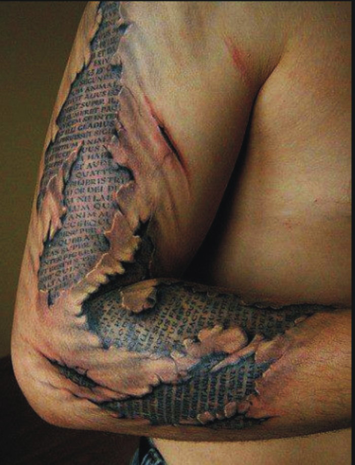 Broken Skin Writing Tattoo – Best tattoos, best tattoo artists
